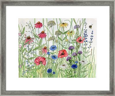 Garden Flower Medley Watercolor Framed Print