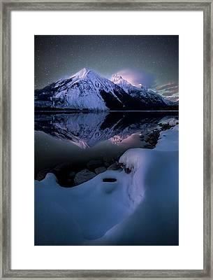 Ghost In The Darkness / Lake Mcdonald, Glacier National Park  Framed Print