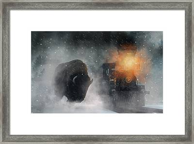 Framed Print featuring the digital art Giant Buffalo Attacking Train by Daniel Eskridge