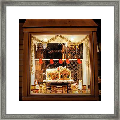 Framed Print featuring the photograph Gingerbread Holiday Window by Kristia Adams