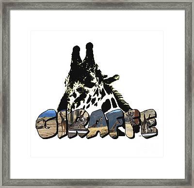 Giraffe Big Letter Framed Print