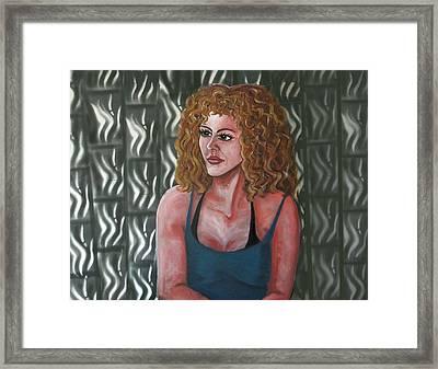 Girl And Tiles Framed Print