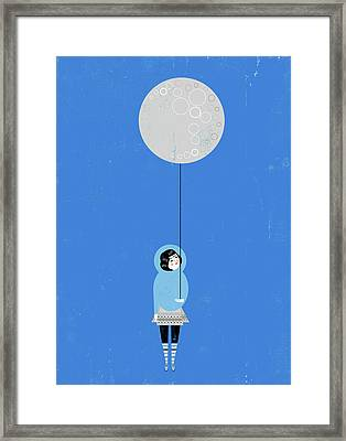 Girl Holding Full Moon Balloon Framed Print