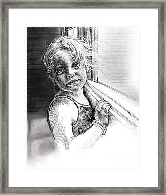 Girl With A Beaded Bracelet Framed Print