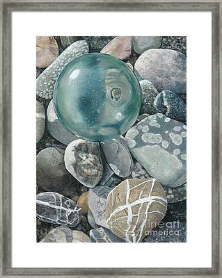 Glass Float And Beach Rocks Framed Print