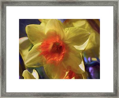Framed Print featuring the mixed media Golden Daffodil Brilliance by Lynda Lehmann