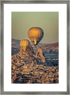 Framed Print featuring the photograph Golden Hour Balloons by Francisco Gomez