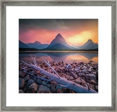 Golden Hour / Many Glacier, Glacier National Park  Framed Print