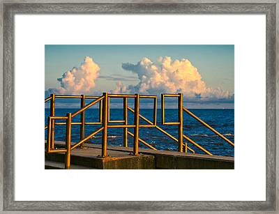 Golden Railings Framed Print