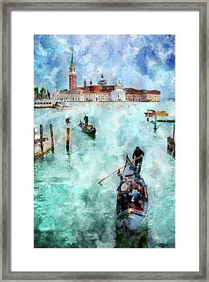 Gondola Rides And San Giorgio Di Maggiore In Venice Framed Print