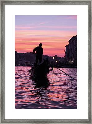 Gondolier At Sunset Framed Print