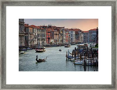 Grand Canal Gondolier Venice Italy Sunset Framed Print
