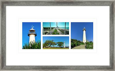 Grand Old Lighthouse Biloxi Ms Collage A1a Framed Print