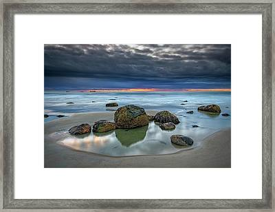 Framed Print featuring the photograph Gray Morning On Wells Beach by Rick Berk