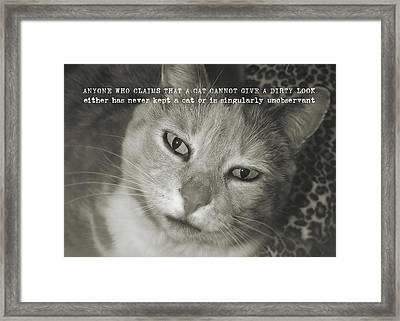 Green Eyed Glare Quote Framed Print by JAMART Photography
