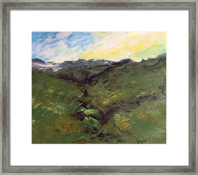 Framed Print featuring the painting Green Hills by Norma Duch
