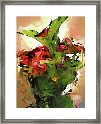 Green Leaves And The Red Flower Framed Print