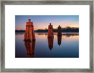 Group Of Three Docking Piles On Connecticut River Framed Print