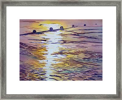 Groynes And Glare Framed Print