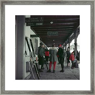 Gstaad Station Framed Print by Slim Aarons