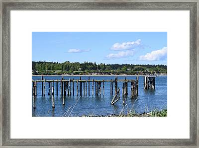 Guemes Island And Old Pier Framed Print
