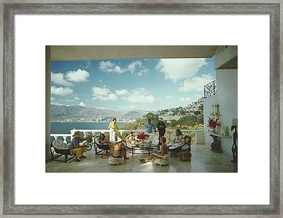 Guests At Villa Nirvana Framed Print