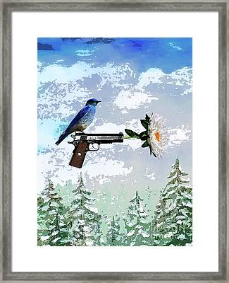 Bluebird Of Happiness- Flower In A Gun Framed Print