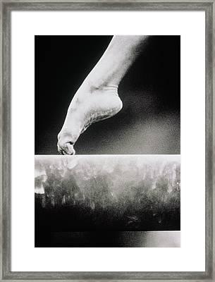 Gymnastics, Girls Foot On Balance Beam Framed Print