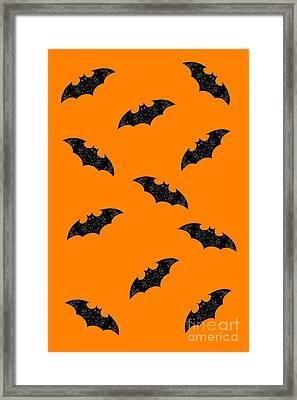 Framed Print featuring the mixed media Halloween Bats In Flight by Rachel Hannah