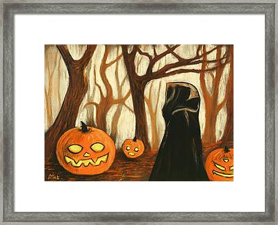 Framed Print featuring the painting Halloween Forest by Anastasiya Malakhova