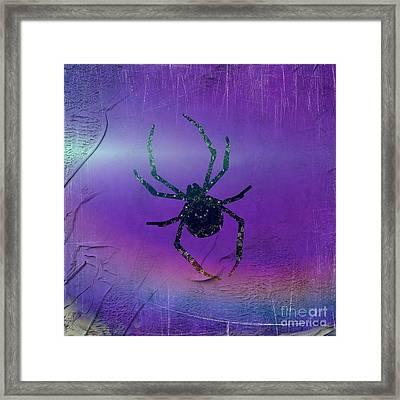 Framed Print featuring the mixed media Halloween Spider Dream by Rachel Hannah