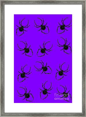 Framed Print featuring the mixed media Halloween Spiders Creeping by Rachel Hannah