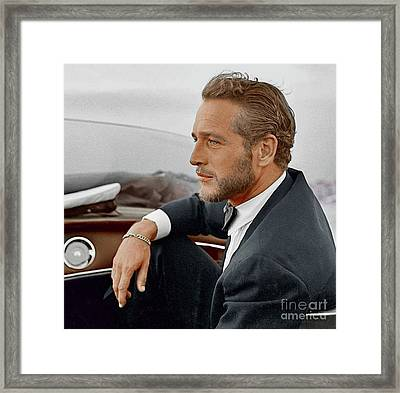 Hand Colored Picture Of Paul Newman Framed Print