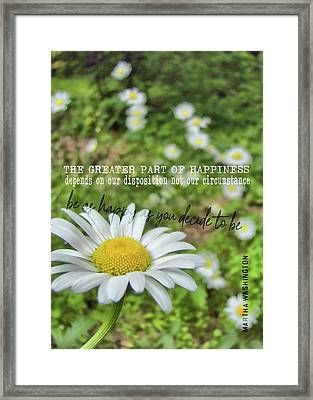 Happy Daisy Quote Framed Print