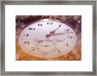 Happy New Year With Decorative And Nostalgic Theme. Framed Print