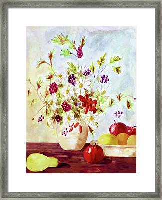 Framed Print featuring the painting Harvest Time-still Life Painting By V.kelly by Valerie Anne Kelly