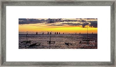 Hawaiian Sunset - Honolulu, Oahu, Hawaii Framed Print by D Davila