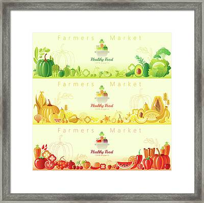 Healthy Organic Food Banners Framed Print by O-che