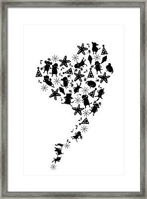 Heart Shaped Dogs And Stars In Black & Framed Print by Meg Takamura