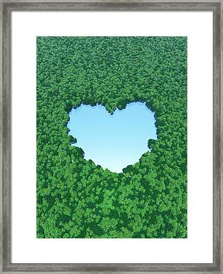 Heart Shaped Lake In Forest Framed Print by I-works/amanaimagesrf