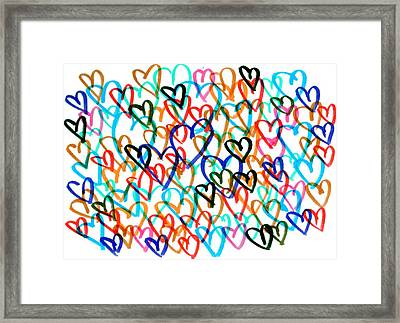 Framed Print featuring the drawing Hearts by Bee-Bee Deigner