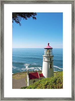 Framed Print featuring the photograph Heceta Head Lighthouse Oregon by Rospotte Photography