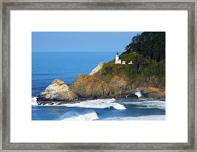 Framed Print featuring the photograph Heceta Head Lighthouse1107 by Rospotte Photography