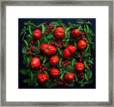 Heirloom Tomatoes And Peas Framed Print