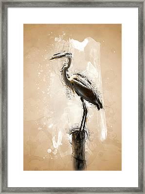 Heron On Post Framed Print