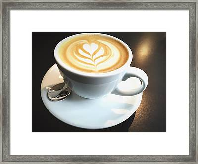 High Angle View Of Coffee On Table Framed Print by Fabian Krause / Eyeem