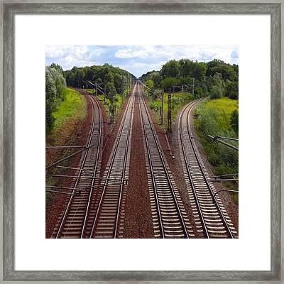 High Angle View Of Empty Railroad Tracks Framed Print by Thomas Albrecht / Eyeem