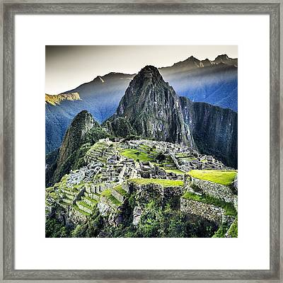 High Angle View Of Machu Picchu Against Framed Print by Diego Cambiaso / Eyeem