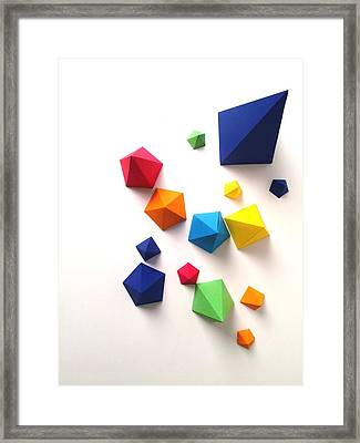 High Angle View Of Multi Colored Paper Framed Print by Gunther Kleinert / Eyeem