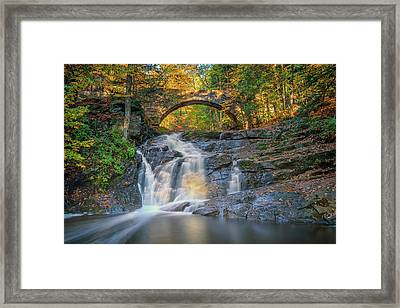 Framed Print featuring the photograph High Arch Bridge In Vaughan Woods by Rick Berk